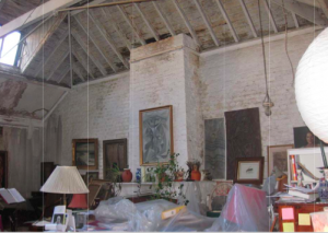 The interior today, extensive restoration is needed in order for he studio to survive.